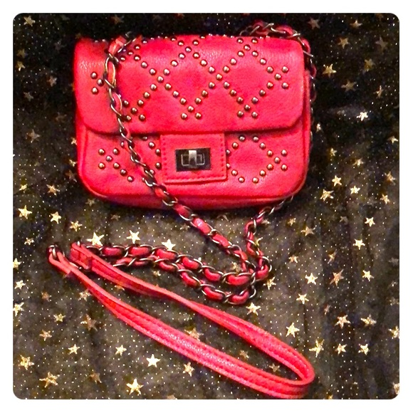 Forever 21 Handbags - Small Red Crossbody Bag with Gunmetal Chain